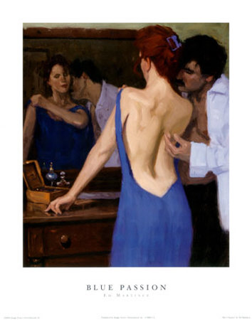 Mmmm. . . this one\'s my favourite. Tracing down the curve of her baack with the back of the fingers . . . so sensitive...the nape of the neck . . . such an intoxicating curve to nuzzle. :: Blue Passion by Edward Martinez