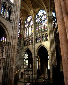 Saint Denis Cathedral arches & stained glass